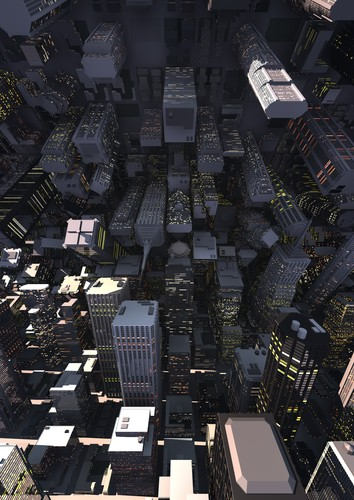Picture of a modern city bending like in the movie Inception