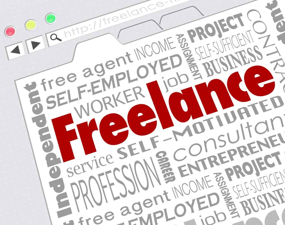 Freelance concept in a word cloud, with Freelance in larger letters and other terms like Self-employed, Business, Entrepreneur, and Independent.