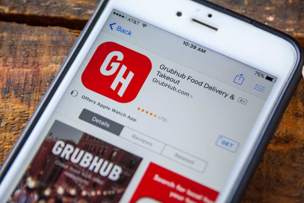 Image of Grubhub logo in search results on an iPhone screen