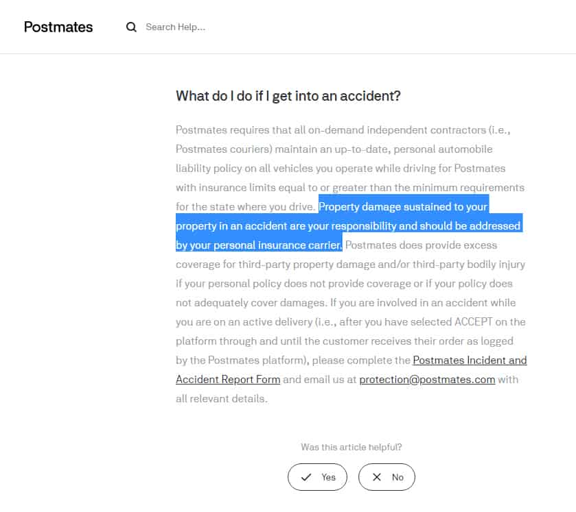 Screenshot from https://support.postmates.com/fleet/articles/221231027-article-What-do-I-do-if-I-get-into-an-accident- accessed 8-27-2019