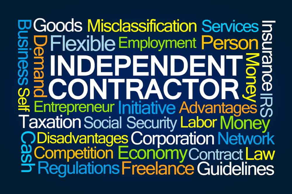 A lot of words around being an independent contractor. These words make it hard to see the headline when they serve as an image background.