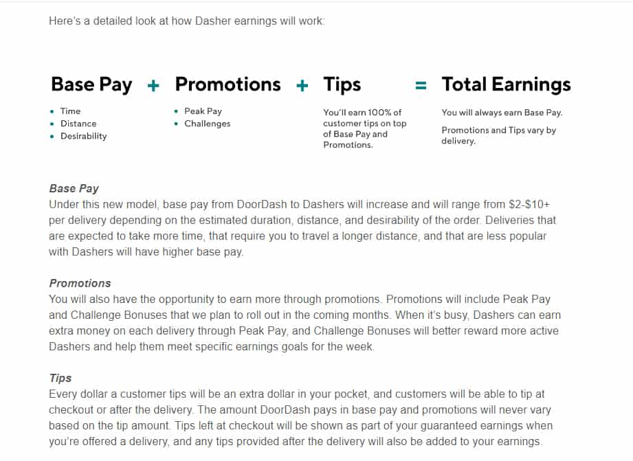 screenshot of the email announcing 'details' of the new pay model