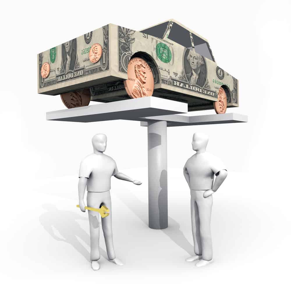 Car made of money up on a lift with a mechanic and a delivery contractor standing below