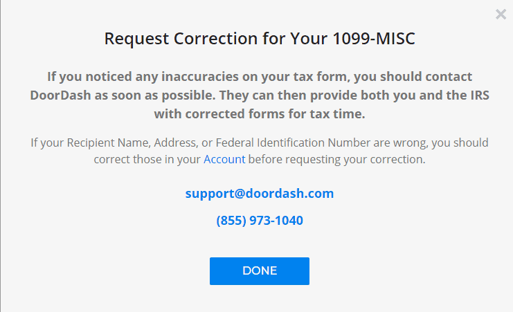 "This is the popup from the Payable.com website when you click on '""Request Correction"" at the bottom of the 1099"