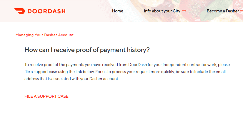 Doordash article stating that you can request a payment history as proof of earnings