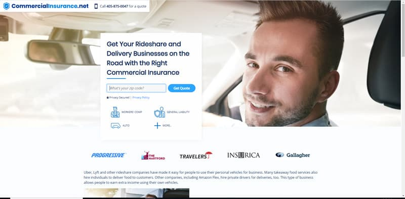 Screenshot of the Rideshare and Delivery Business landing page at Commercial Insurance.net.