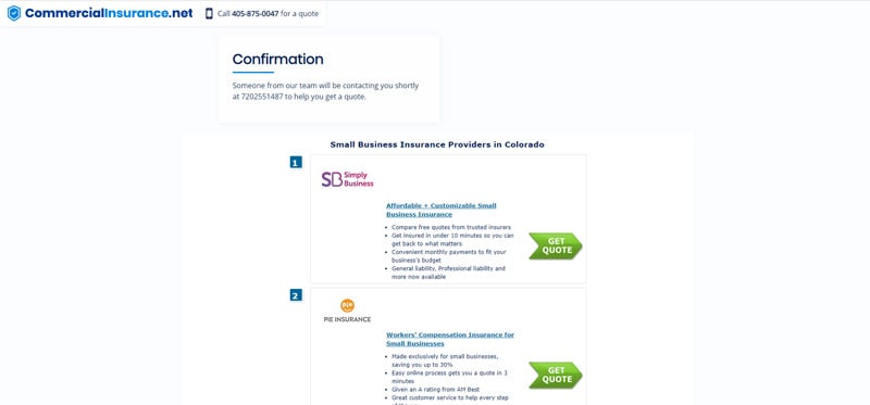 Screenshot of confirmation page from CommercialInsurance.net listing other insurance providers