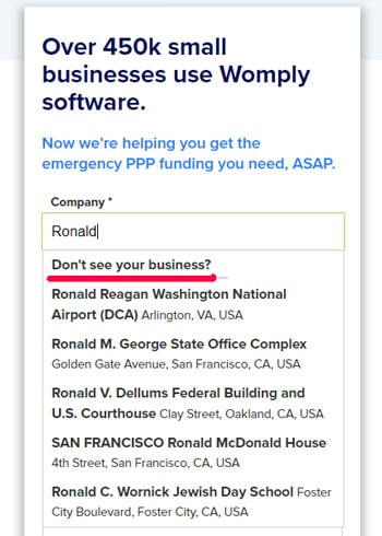 """As you type your name in under Company, a list of business will populate before. Click on the link that says """"Don't see your business?"""""""