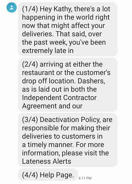 Screenshot of lateness alert as posted by a user on the Doordash Dashers Facebook page.