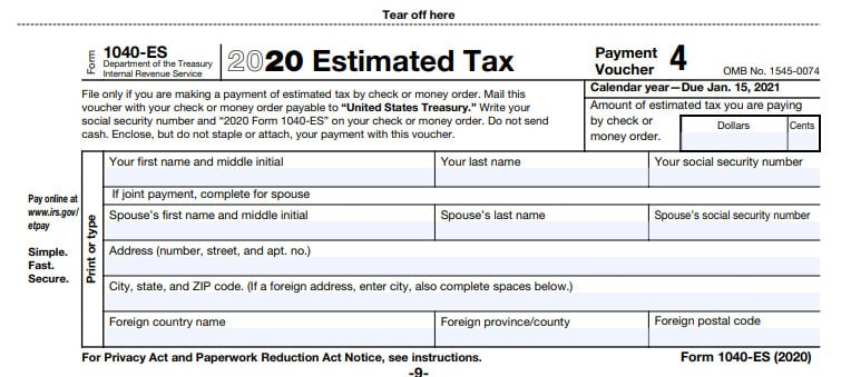 Form 1040-ES that you send in with your quarterly payment as an independent contractor with Doordash, Grubhub, Postmates, Uber Eats, Lyft or other gigs.