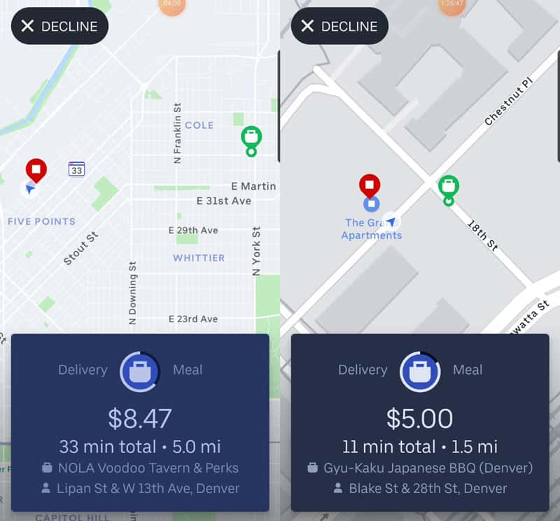 Two different Uber Eats delivery offers - which would you take?