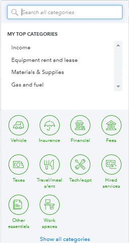 Select a category screen on Quickbooks Self Employed