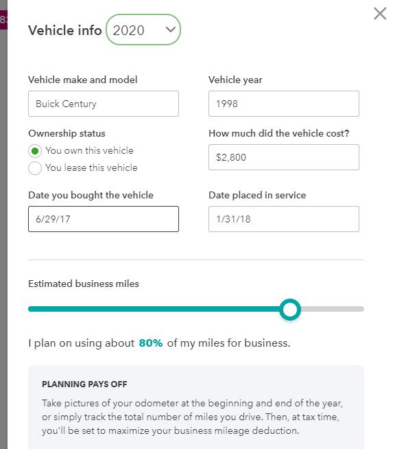 Vehicle setup screen on Quickbooks Self Employed