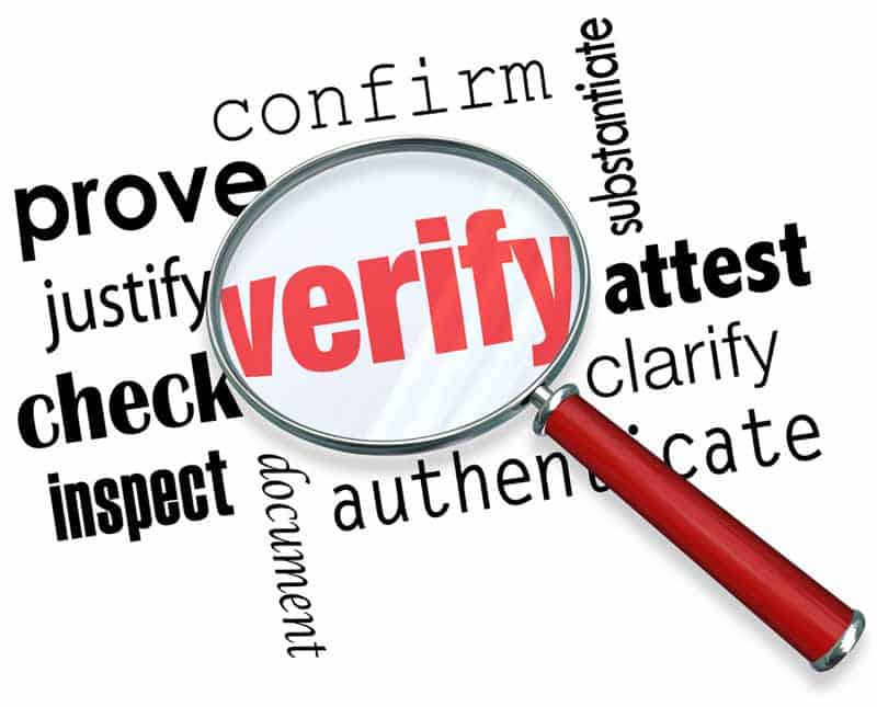Word picture focused on Verify, includes confirm, substantiate, prove, justify, check, inspect, all relating to verifying income with Doordash