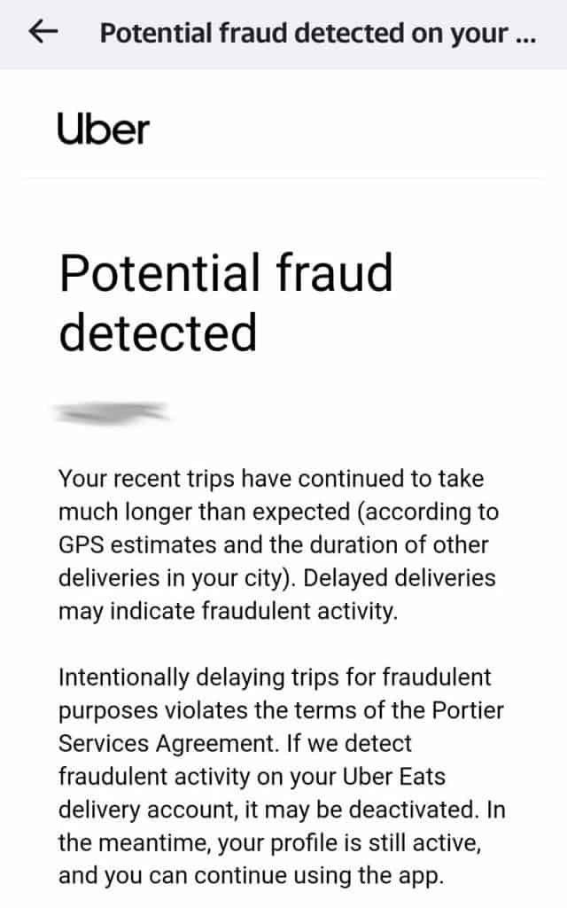 Screenshot forwarded to me of a warning received from Uber Eats