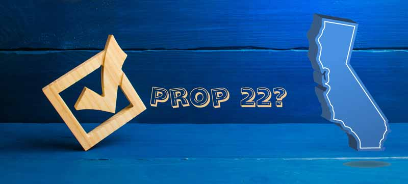 Is voting for Prop 22 the best move? Picture of Check mark and outline of the state of California