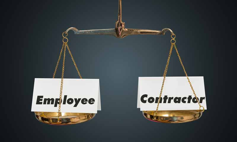 scale that weighs whether an employee or independent contractor