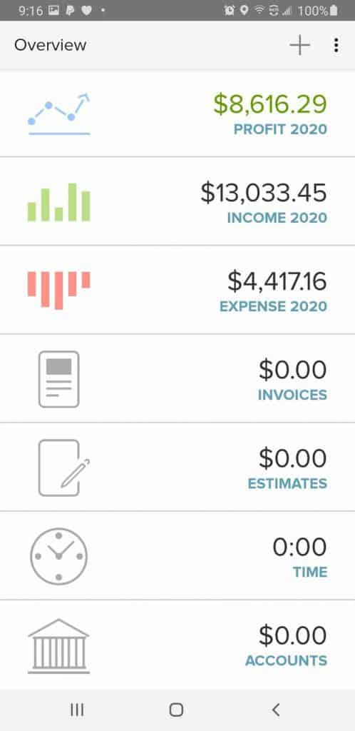 The overview page on the Godaddy Bookkeeping mobile app