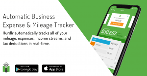 "Image of Hurdlr app with statement ""Automatic Business Expense & Mileage Tracker. Hurdlr automatically tracks all of your mileage, expenses, income streams, and tax deductions in real time."