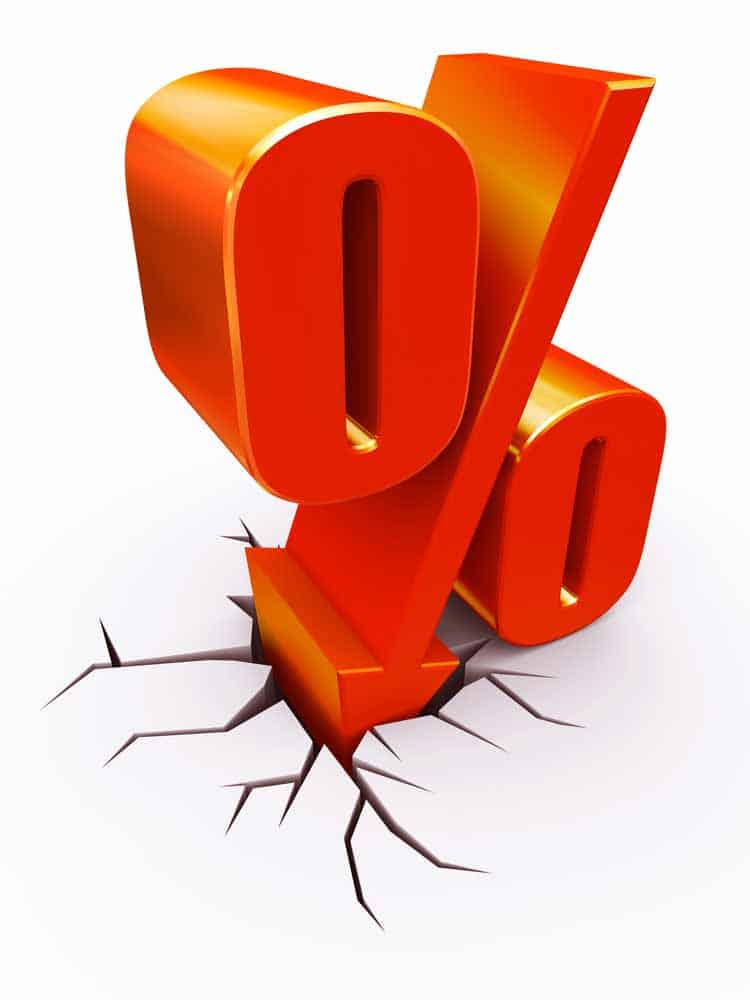 Percentage sign indicating loan interest rate