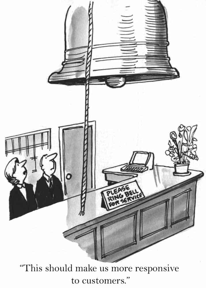 Cartoon with oversized bell to ring for service