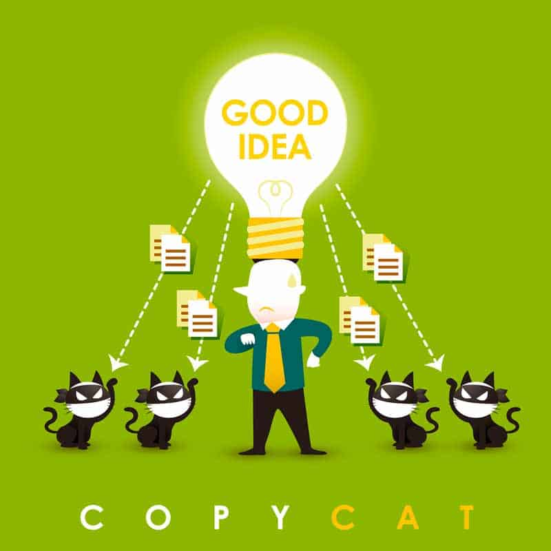 Illustration of man with a great idea and four copycats stealing the idea
