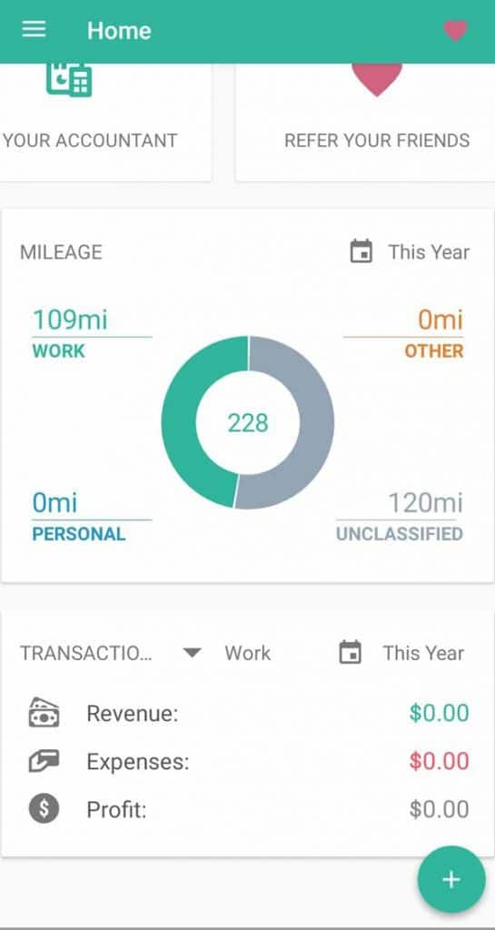 Everlance's home screen is an attractive dashboard showing overall revenue, expenses, profit and miles.