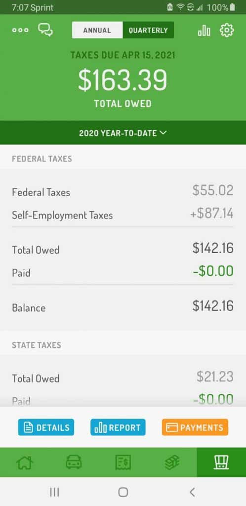 Hurdlr gives me a breakdown of estimated income tax, self employment tax and state tax that I would need to save for the year based on the income tax settings that I put into the app.