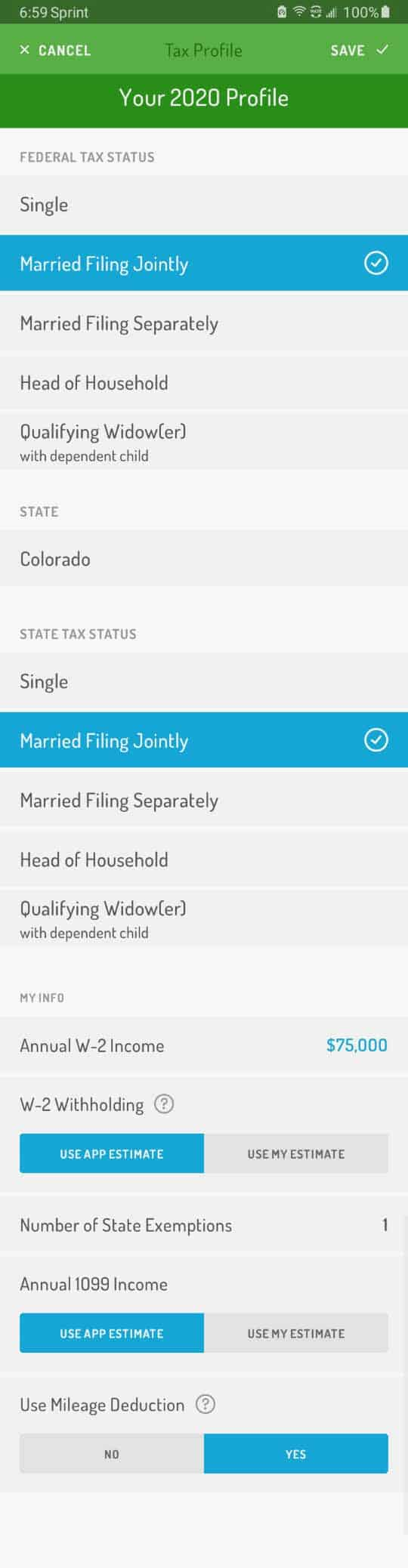 Hurdlr's tax profile screen with information including filing status, exemptions, additional income.