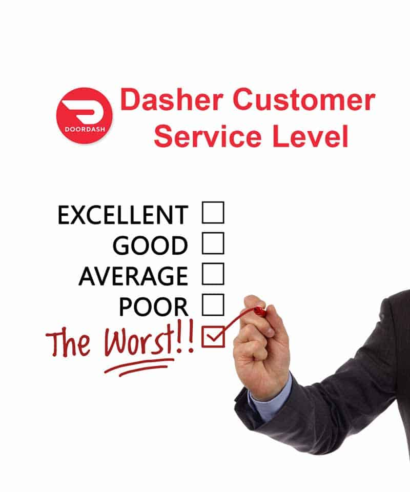 "Doordash Dasher customer service level rating scale with someone checking off ""the worst"""