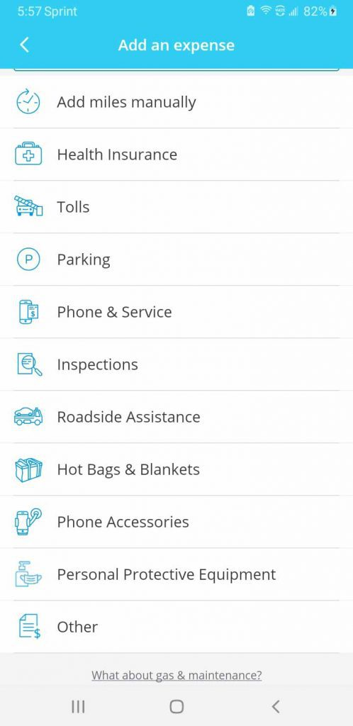 These are the only expense categories available in Stride Tax for delivery drivers