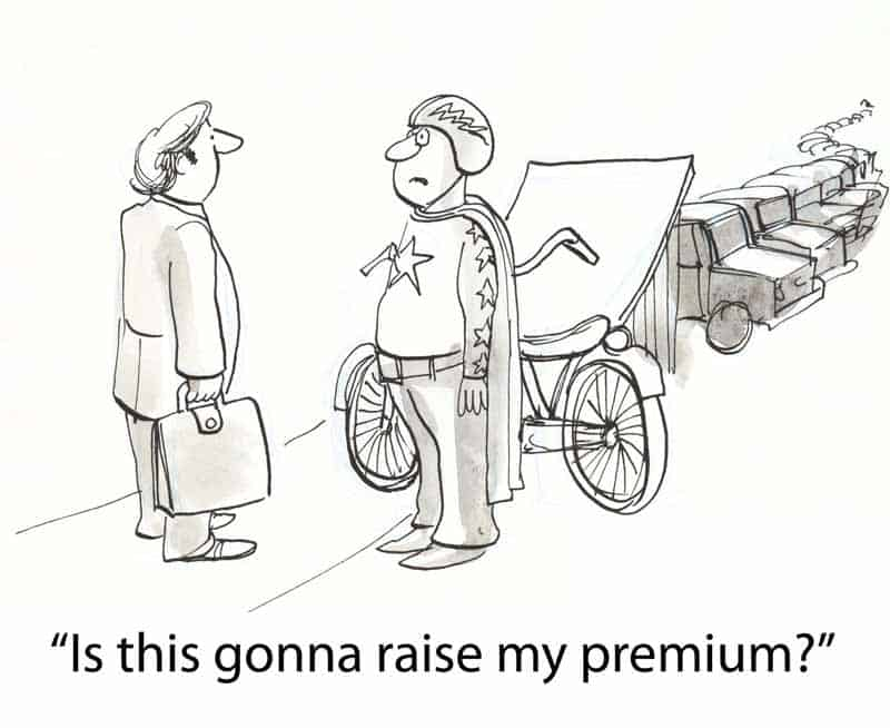 Man with a cycle asking if insurance would raise his premium.