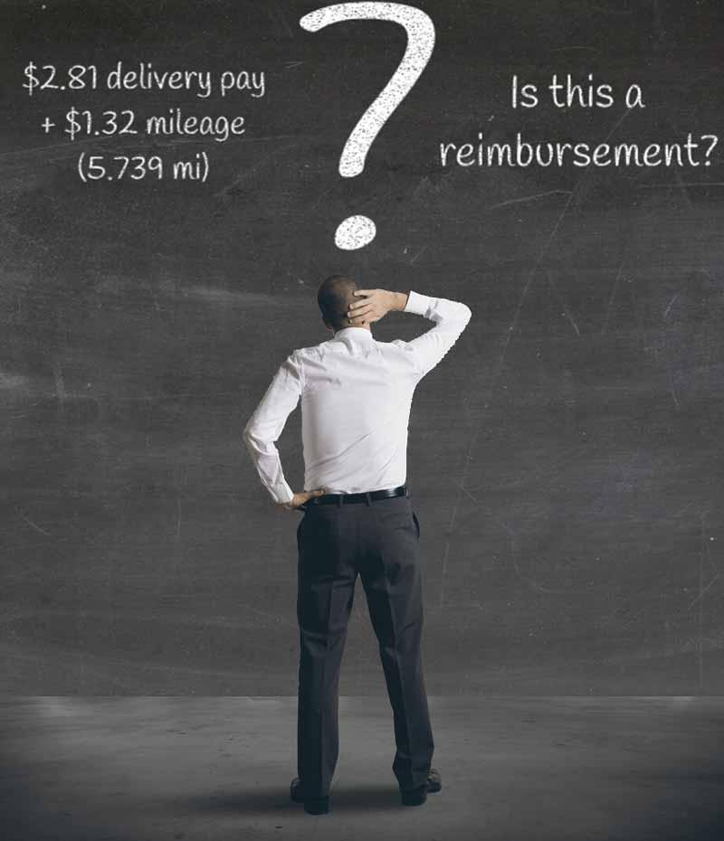 Man wondering if mileage pay is the same as reimbursement