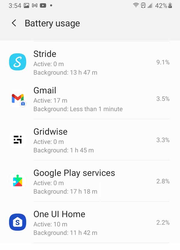 Battery usage report showing Stride using 9.1% of battery resources (and Gridwise also high at 3.3%)