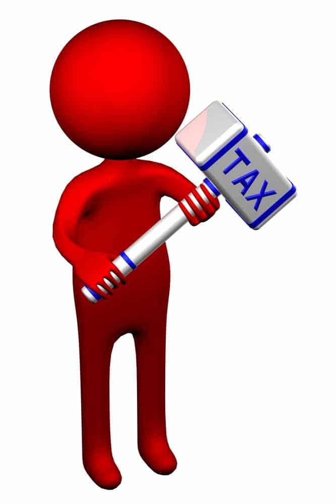 """Tax man holding a sledge hammer labeled """"tax"""""""