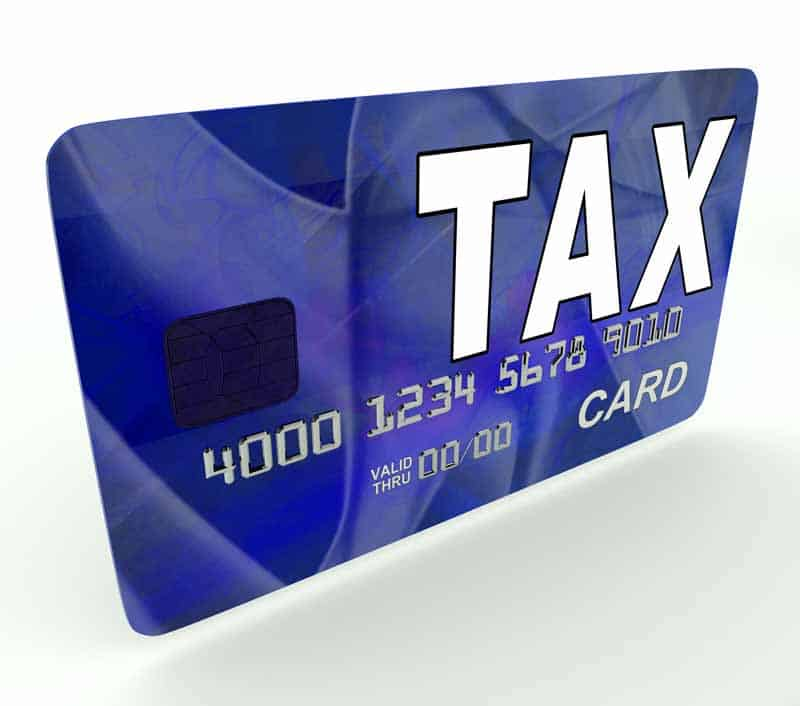 Tax credit signified by a tax credit card