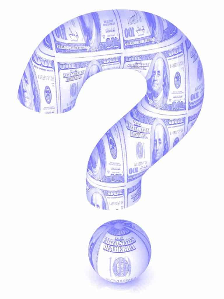 Question mark made of dollars as gig economy contractors have questions
