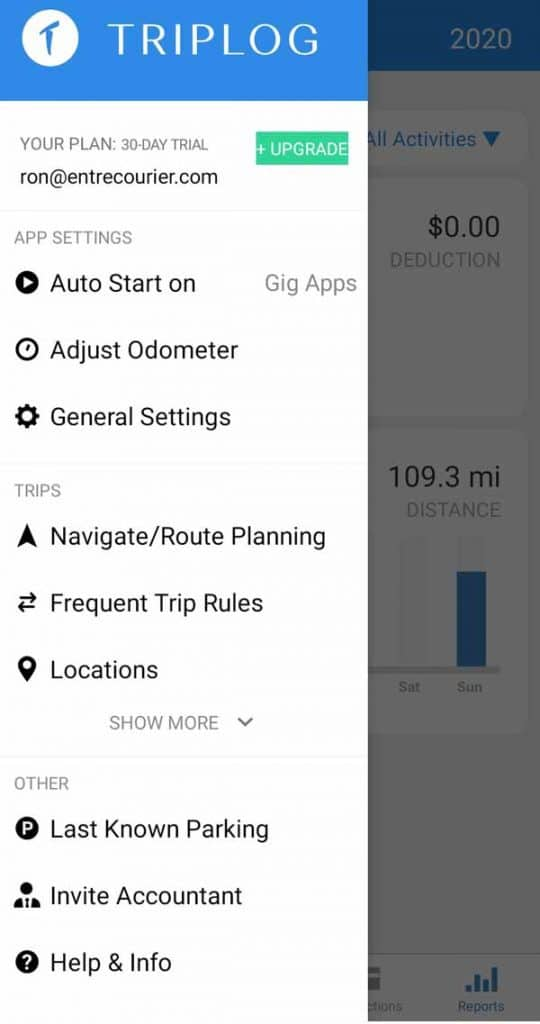 The settings page in Triplog shows some of the extras when it comes to mileage tracking. You can fine tune when you want the auto tracking to kick in, you can set up an odometer and adjust it to match your car's, and you can even navigate to your last known parking spot.