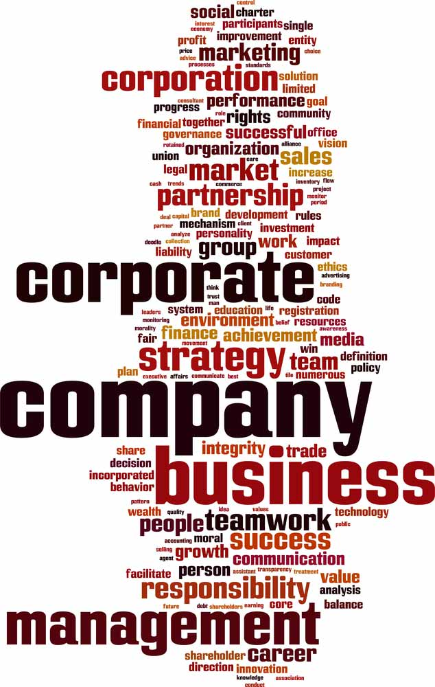 word cloud centered on corporate, company, and business to identify business structures