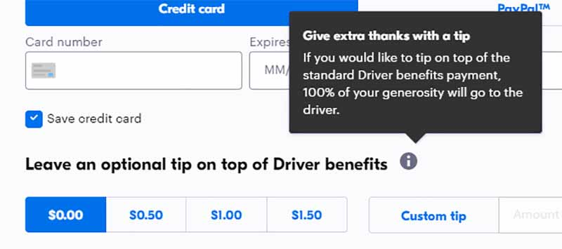 """Tips section of Grubhub order screen for a California based delivery, showing options to add a tip of 50¢, $1.00 or $1.50 with explanation """"If you would like to tip on top of the standard Driver benefits payment, 100% of your generosity will go to the driver."""""""