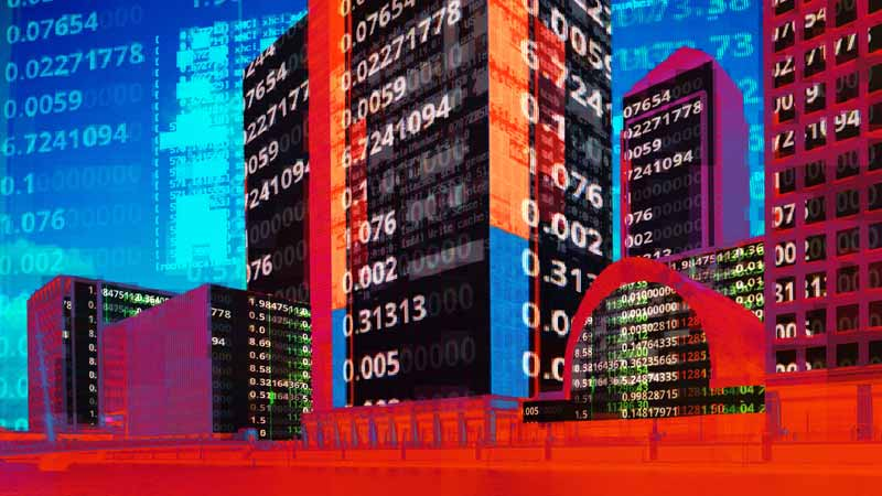 Image of high tech business area with stock price symbols superimposed