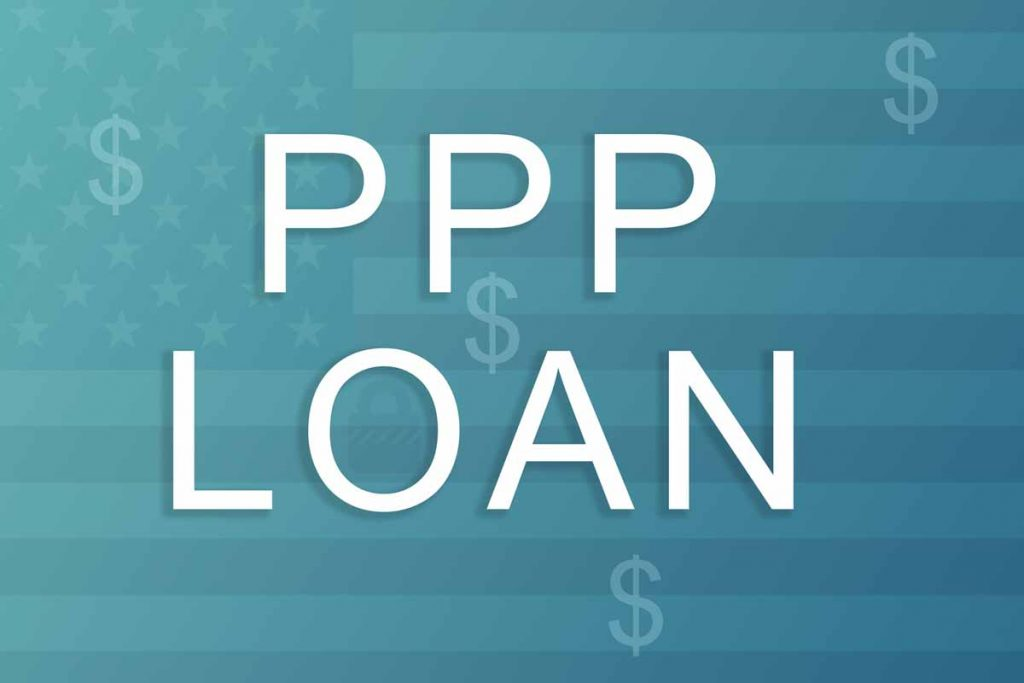 """""""PPP Loan"""" for Paycheck Protection Program with $ dollar signs over faded image of American flag"""