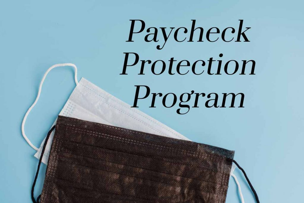 "Two masks displayed under words ""Paycheck Protection Program"""