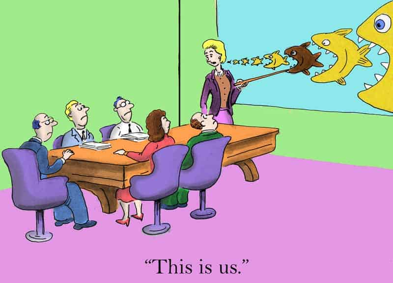 """Cartoon of a corporate board (maybe Postmates) looking at picture of several fish trying to eat a smaller fish while being eaten by larger fish, and someone pointing at one and saying """"This is us"""""""