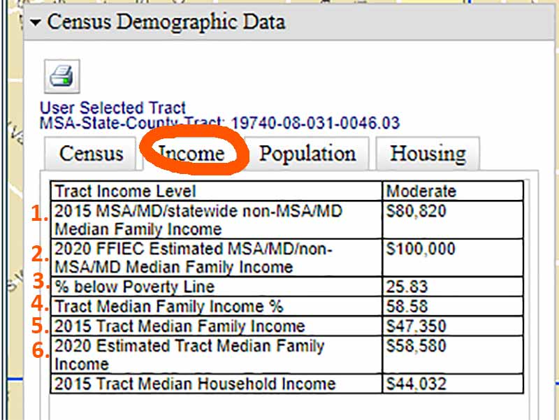 "Screenshot of a sample ""Census Demographic Data"" with Income tab highlighted, showing income statistics for that particular census tract."