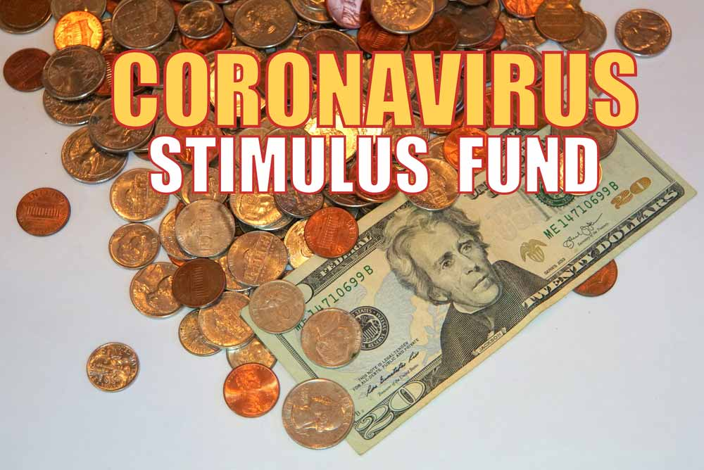 """label """"Coronavirus Stimulus Fund"""" over several coins and a $20 bill"""