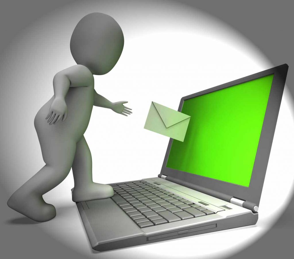 3D figure pushing envelope towards a laptop screen symbolizing sending out a newsletter