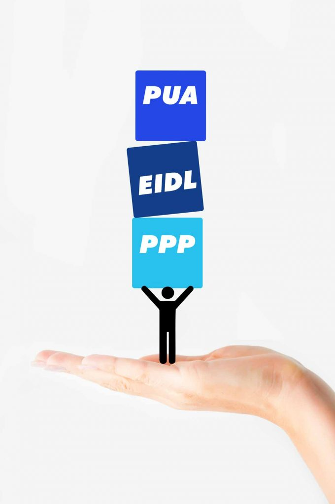 Hand holding stick figure who is weighing PUA, EIDL and PPP portions of the CARES act
