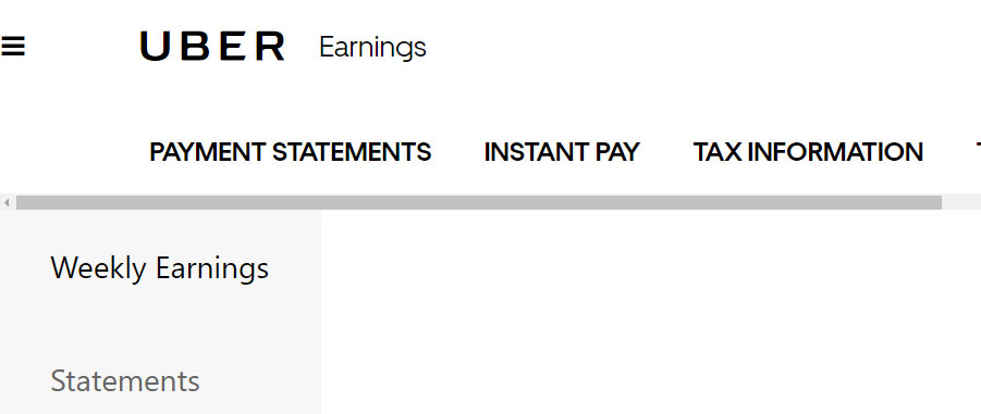 Home screen for driver portal at Uber.com. Options including Payment Statements, Instant Pay setup, and Tax Information