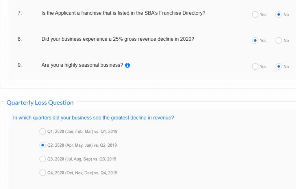 Screenshot from a January 2021 PPP Application asking if one's business experienced a 25% gross revenue decline in 2020 and which quarter that would have occurred.